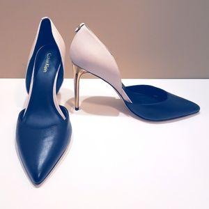 Calvin Klein Sebrina Black, Tan and Gold Pumps 9.5